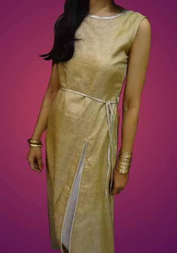 A Golden Maxi Gown with Gota Pathhi Finishes