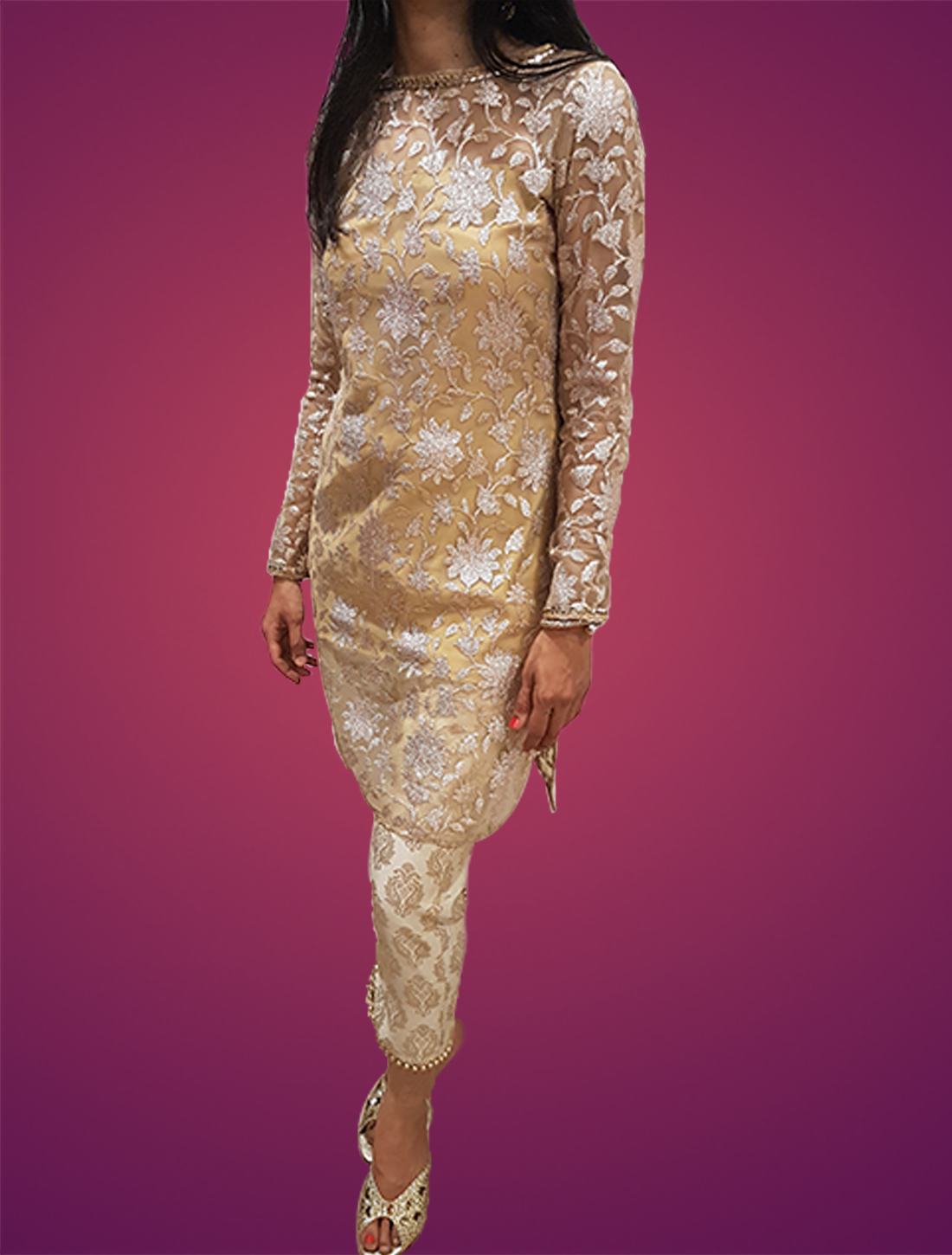 A Beautifully Weaved Kurti in Bronze and Golden threads with Mirror Work Neck line paired up with Benaras Brocade Straight Pants