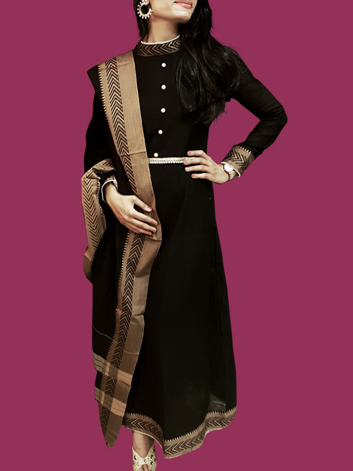 An A-line Anarkali Dress in Narayanpet Handloom Cotton designed with a Turtle Neck and Pearl Buttons