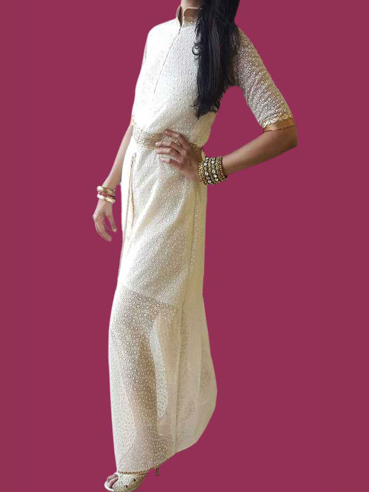 A Beautiful and Elegant Embroidered White Gown