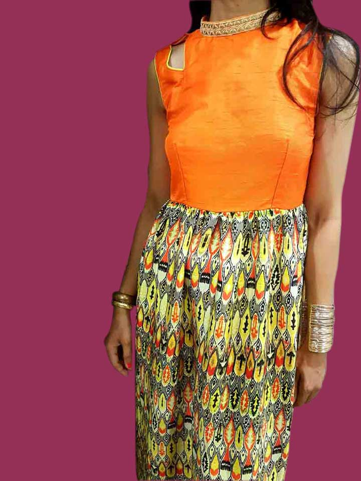 A Maxi Gown in Sun kissed Orange Raw Silk and Printed Silk