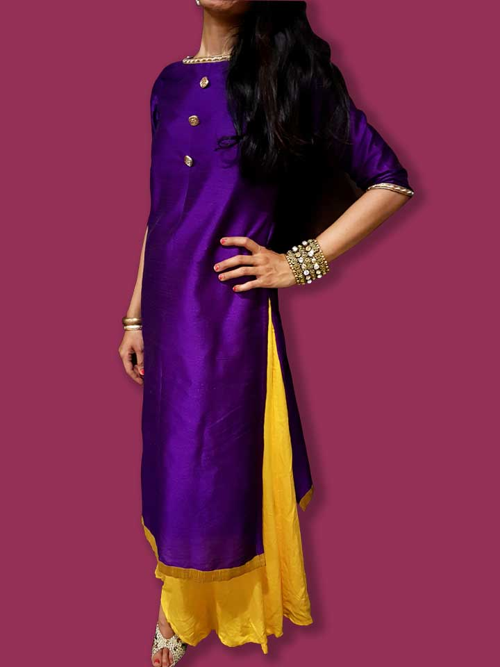 A Purple Long Kurti in Raw Silk with Buttons in Kundan
