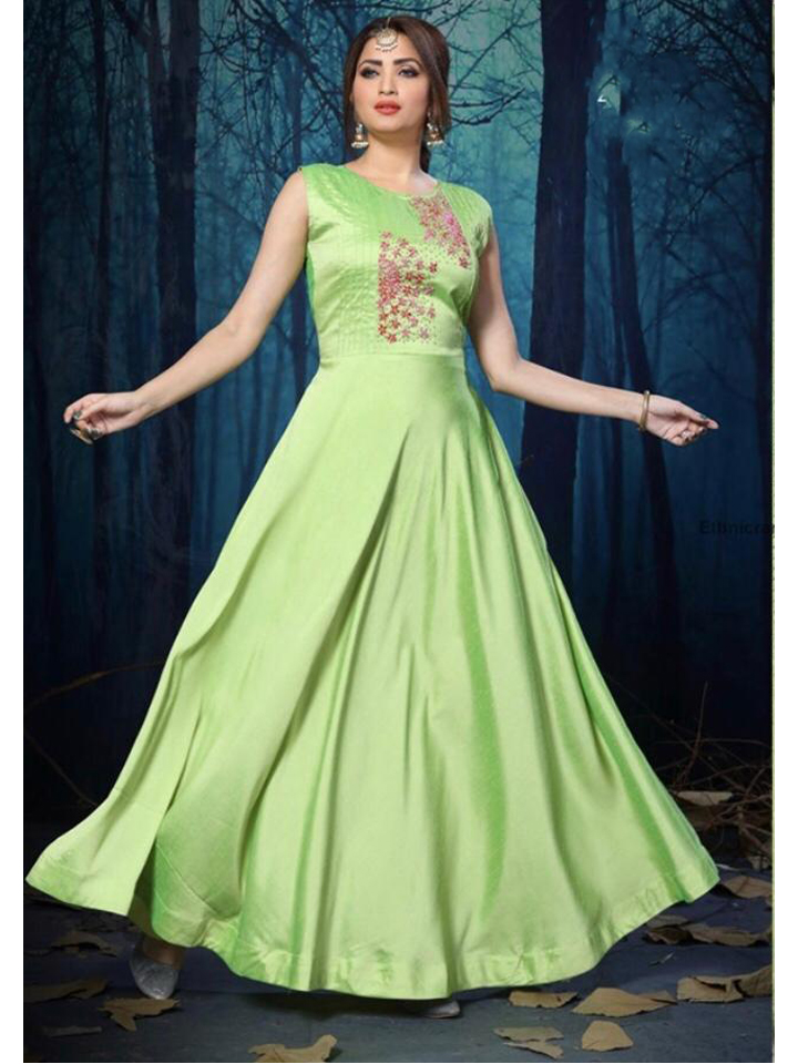 A Beautiful Green Hand work Silk Gown