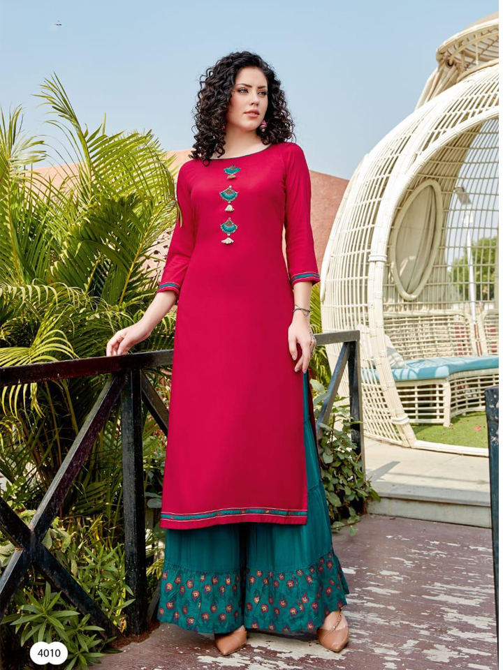 A Beautiful Hand embroidered Kurti with Palazzo