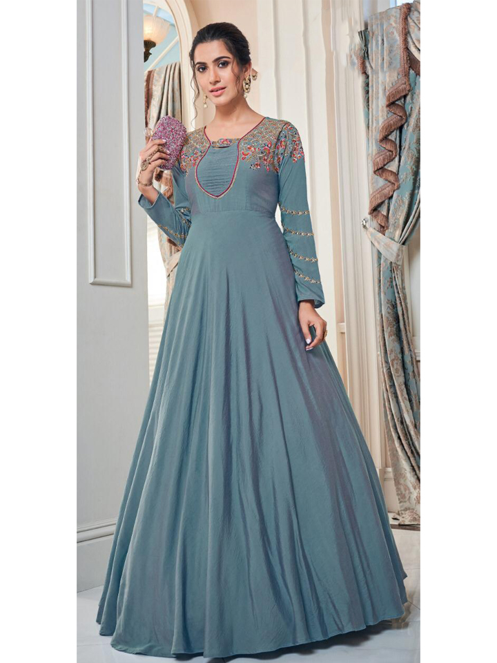 Women Tafetta Silk Long Gown