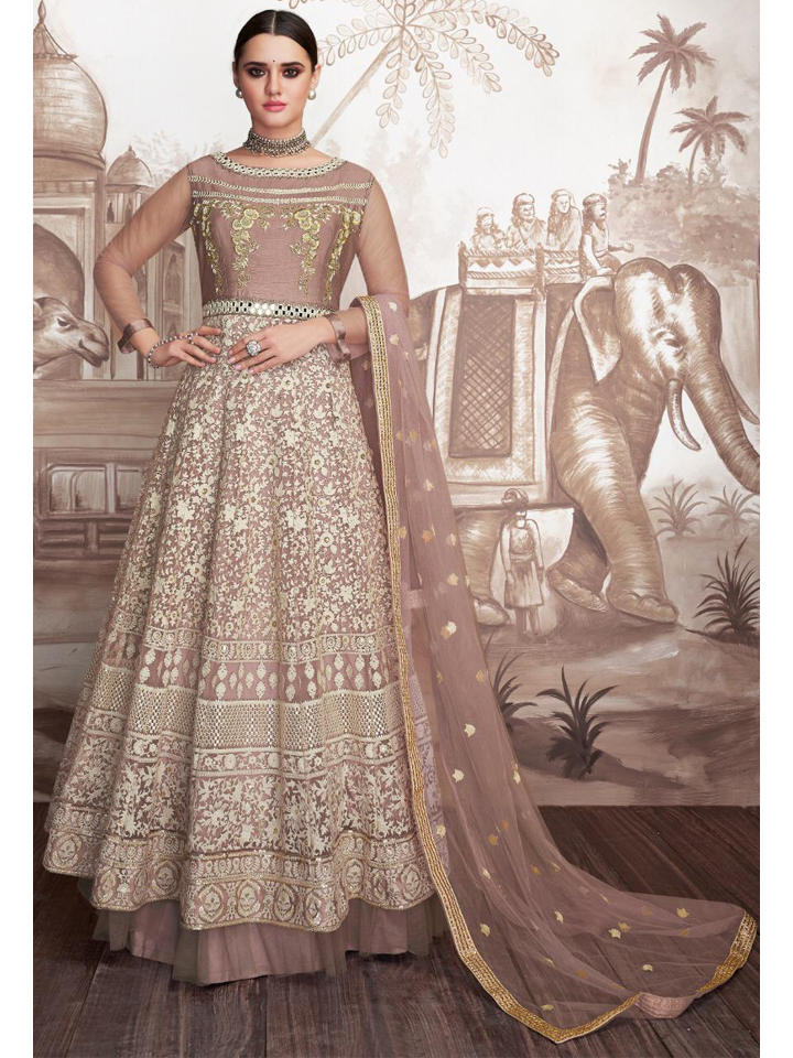 Beautiful Lucknowi Embroidered Anarkali Set with Dupatta