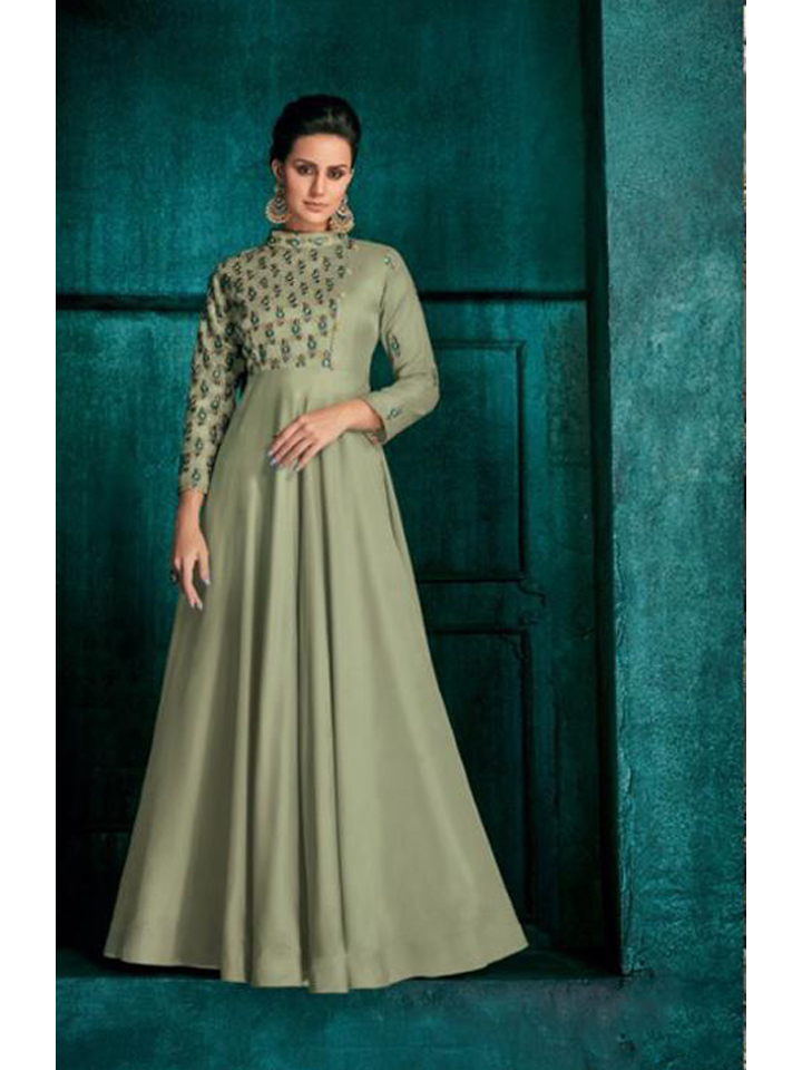 A Beautiful Embroidered Women's Silk Long Gown