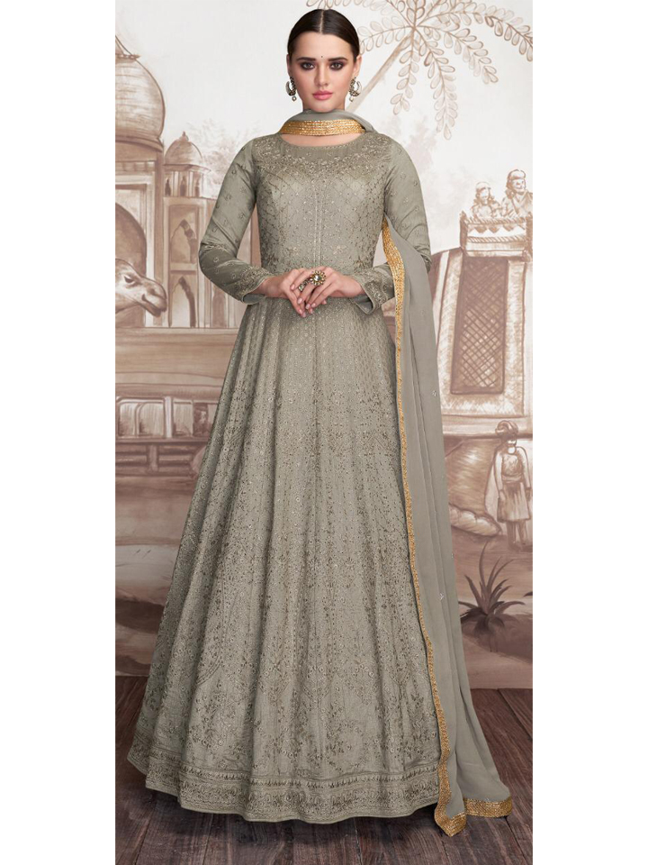 New Designer Party  Wear Chikankari Embroidered Anarkali Set with Dupatta