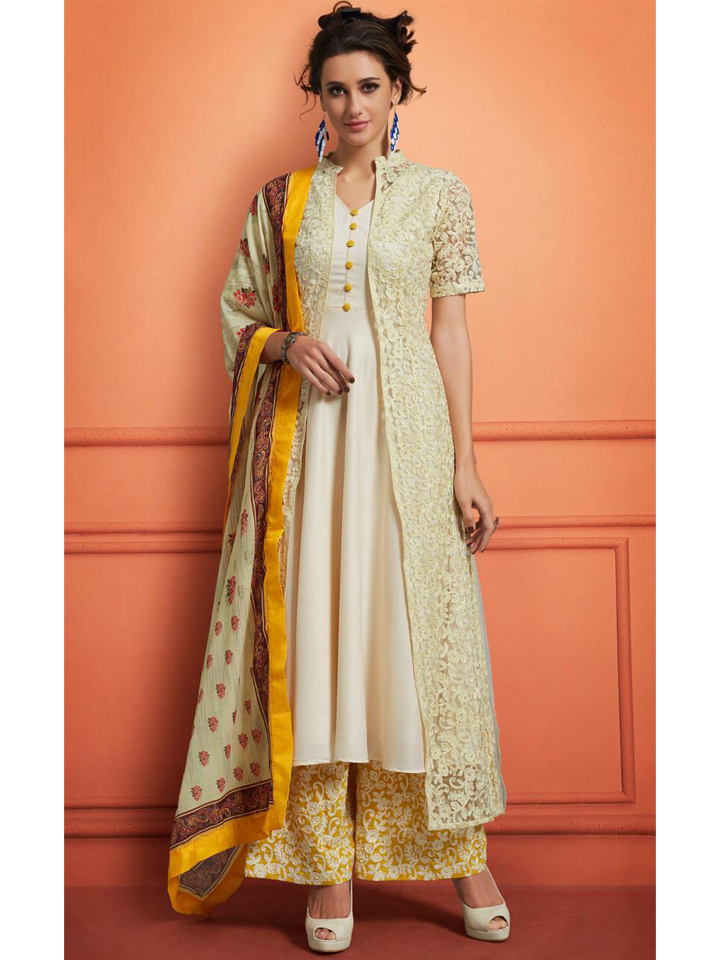 Heavy Thread Embroidered Anarkali Set with Dupatta