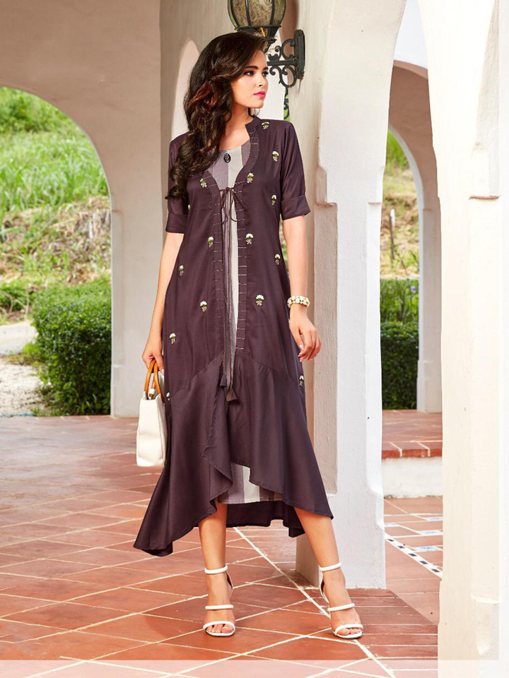 A Jacket Style Embroidery Work Cotton Kurthi