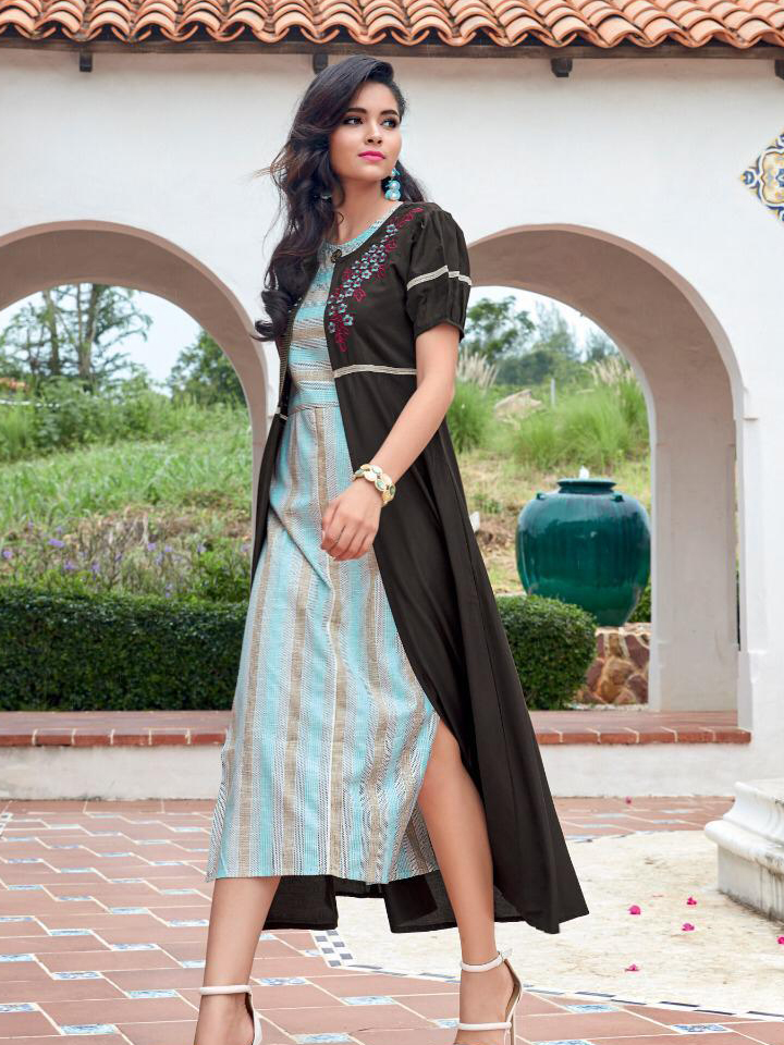 Jacket Style Embroidery Work Cotton Kurthi