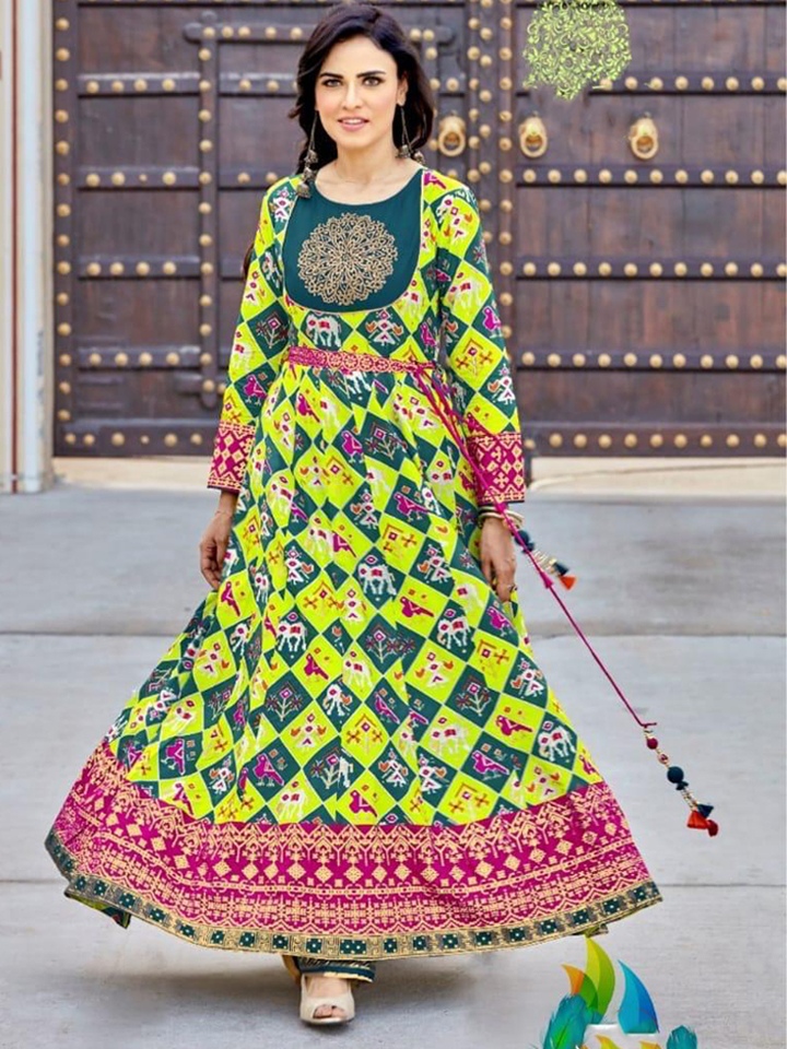 A Green Printed Gown with a Beautiful Yoke