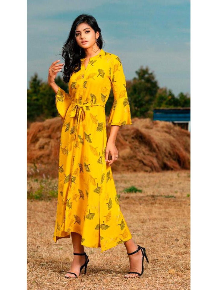 Ankle Length Bright and Classy Yellow Printed Gown