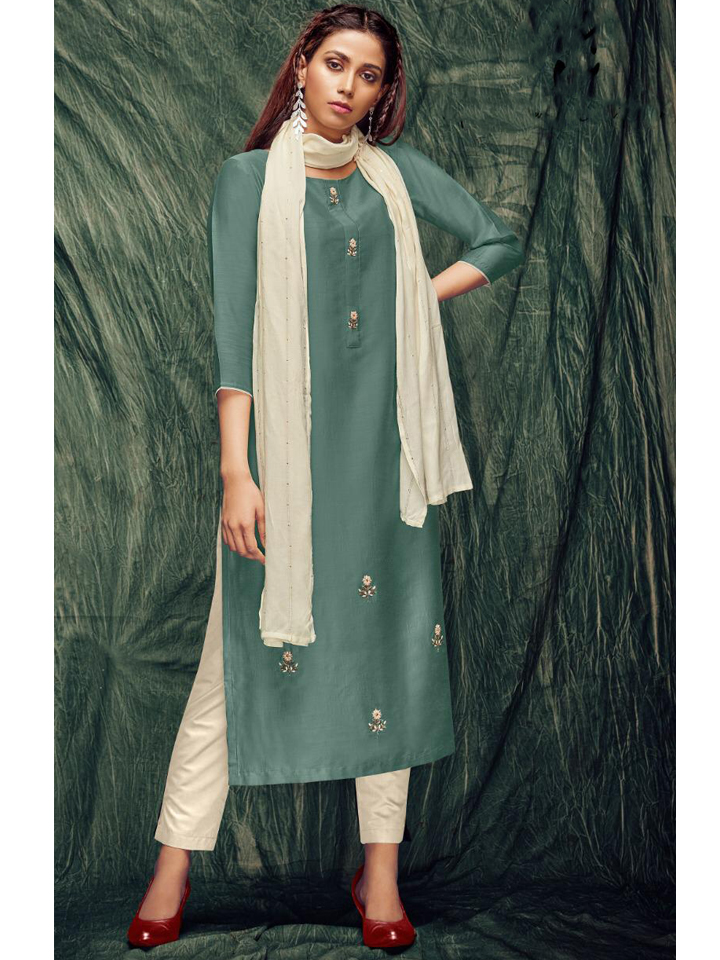 Beautiful  Zardozi Embroidered Long Kurthi with Dupatta