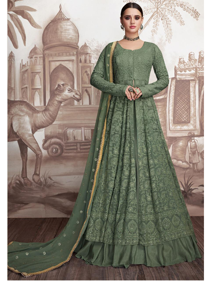 Green Chikankari Embroidered Anarkali Set with Dupatta