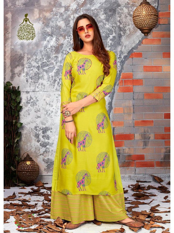 Embroidered Yellow Rayon Kurthi Set with Palazzo