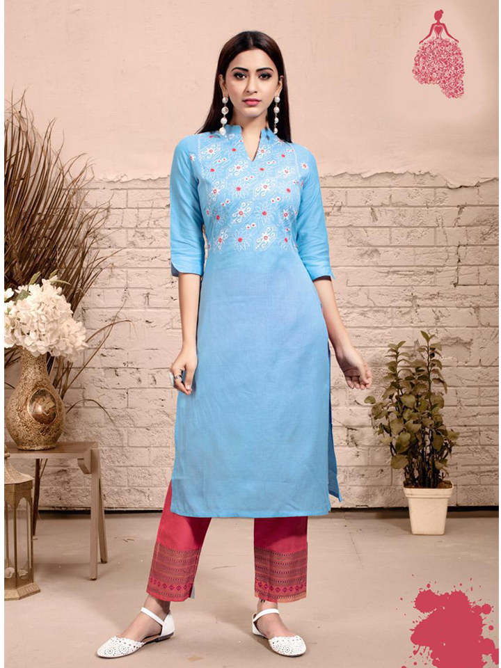 Embroidered Blue Rayon Kurthi Set with Red Straight Pants