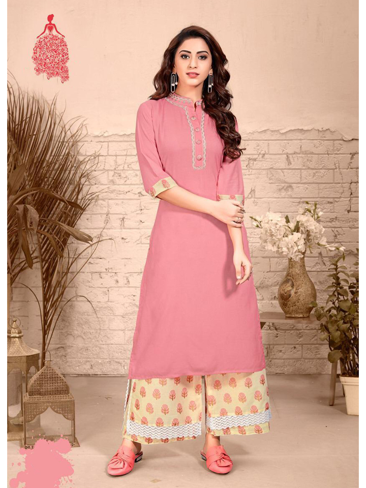 Embroidered Pink Rayon Kurthi Set with Peach Palazzo
