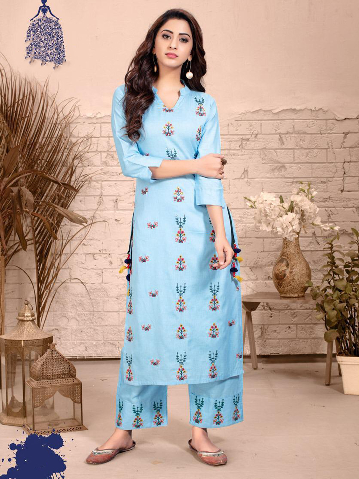 Embroidered Blue Rayon Kurthi Set with Straight Pants