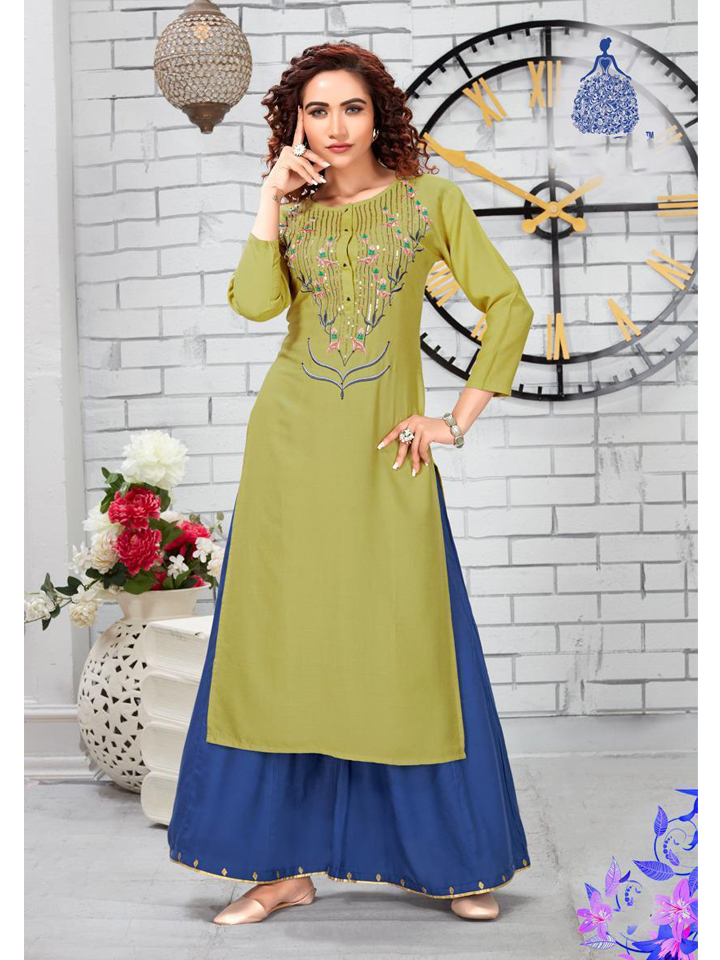 Embroidered Mehendi Green Kurthi Set with Blue Palazzo