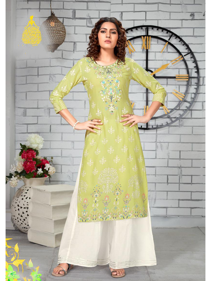 Embroidered Green Kurthi with Cream Palazzo Set