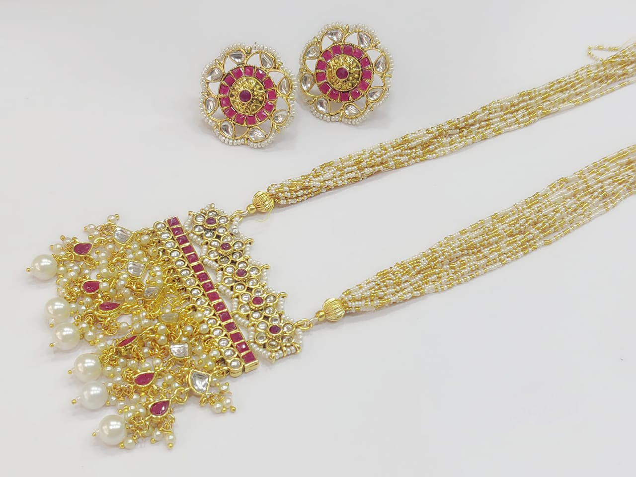 Pearls and Kundans Studded Long Necklace