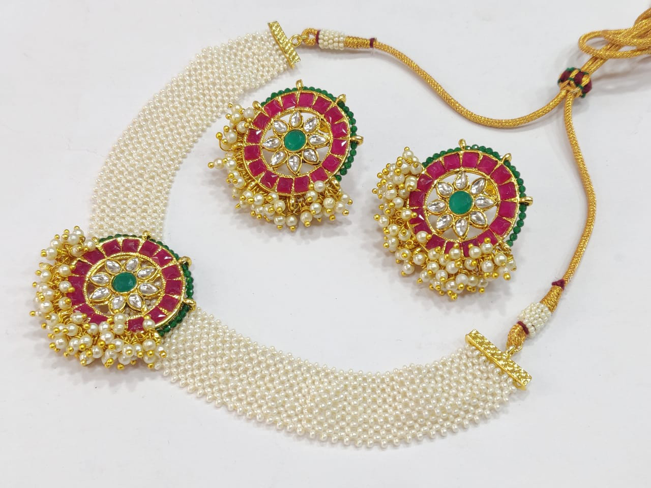 Pearls  and Kundans Net Necklace